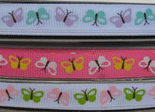 10mm COLOURFUL BUTTERFLIES GROSGRAIN RIBBON